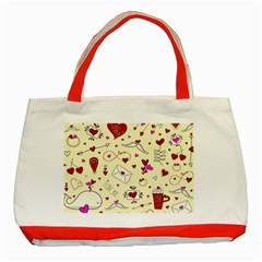 Valentinstag Love Hearts Pattern Red Yellow Classic Tote Bag (red) by EDDArt