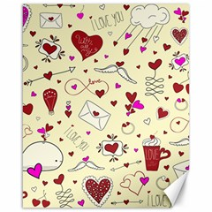 Valentinstag Love Hearts Pattern Red Yellow Canvas 16  X 20   by EDDArt