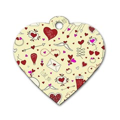 Valentinstag Love Hearts Pattern Red Yellow Dog Tag Heart (one Side) by EDDArt