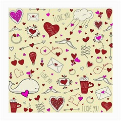 Valentinstag Love Hearts Pattern Red Yellow Medium Glasses Cloth (2 Side) by EDDArt