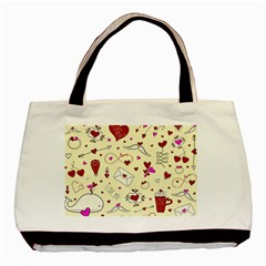 Valentinstag Love Hearts Pattern Red Yellow Basic Tote Bag (two Sides) by EDDArt