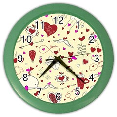 Valentinstag Love Hearts Pattern Red Yellow Color Wall Clocks by EDDArt