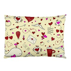Valentinstag Love Hearts Pattern Red Yellow Pillow Case by EDDArt