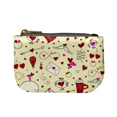 Valentinstag Love Hearts Pattern Red Yellow Mini Coin Purses by EDDArt