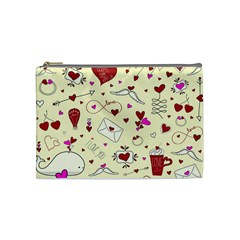 Valentinstag Love Hearts Pattern Red Yellow Cosmetic Bag (medium)  by EDDArt