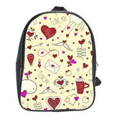 Valentinstag Love Hearts Pattern Red Yellow School Bags(large)  by EDDArt