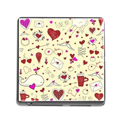 Valentinstag Love Hearts Pattern Red Yellow Memory Card Reader (square) by EDDArt