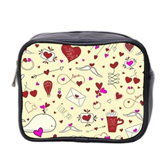 Valentinstag Love Hearts Pattern Red Yellow Mini Toiletries Bag 2 Side by EDDArt