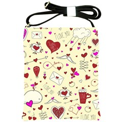 Valentinstag Love Hearts Pattern Red Yellow Shoulder Sling Bags by EDDArt