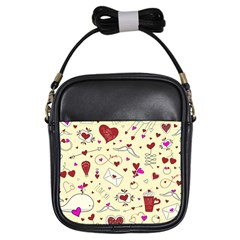 Valentinstag Love Hearts Pattern Red Yellow Girls Sling Bags by EDDArt