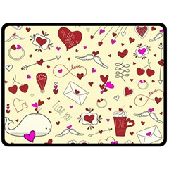 Valentinstag Love Hearts Pattern Red Yellow Fleece Blanket (large)  by EDDArt
