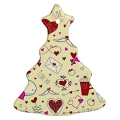 Valentinstag Love Hearts Pattern Red Yellow Christmas Tree Ornament (two Sides) by EDDArt