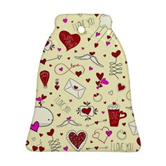 Valentinstag Love Hearts Pattern Red Yellow Bell Ornament (two Sides) by EDDArt