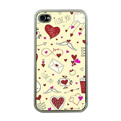 Valentinstag Love Hearts Pattern Red Yellow Apple Iphone 4 Case (clear) by EDDArt