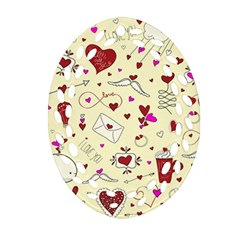 Valentinstag Love Hearts Pattern Red Yellow Ornament (oval Filigree) by EDDArt