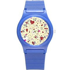 Valentinstag Love Hearts Pattern Red Yellow Round Plastic Sport Watch (s) by EDDArt