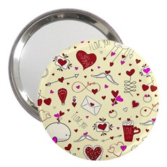 Valentinstag Love Hearts Pattern Red Yellow 3  Handbag Mirrors by EDDArt