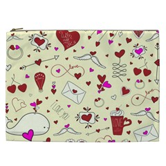 Valentinstag Love Hearts Pattern Red Yellow Cosmetic Bag (xxl)  by EDDArt