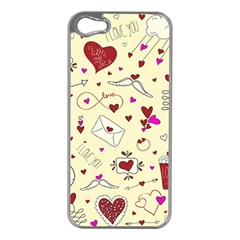 Valentinstag Love Hearts Pattern Red Yellow Apple Iphone 5 Case (silver) by EDDArt
