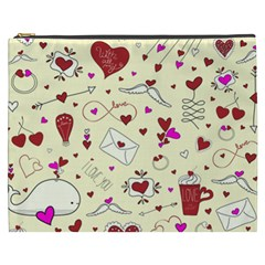Valentinstag Love Hearts Pattern Red Yellow Cosmetic Bag (xxxl)  by EDDArt
