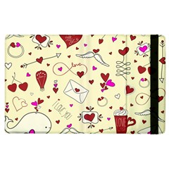 Valentinstag Love Hearts Pattern Red Yellow Apple Ipad 2 Flip Case by EDDArt