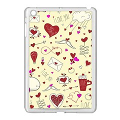 Valentinstag Love Hearts Pattern Red Yellow Apple Ipad Mini Case (white) by EDDArt