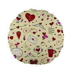 Valentinstag Love Hearts Pattern Red Yellow Standard 15  Premium Round Cushions by EDDArt