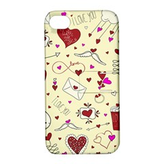 Valentinstag Love Hearts Pattern Red Yellow Apple Iphone 4/4s Hardshell Case With Stand by EDDArt