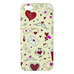 Valentinstag Love Hearts Pattern Red Yellow Apple Iphone 5 Premium Hardshell Case by EDDArt