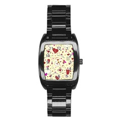 Valentinstag Love Hearts Pattern Red Yellow Stainless Steel Barrel Watch by EDDArt