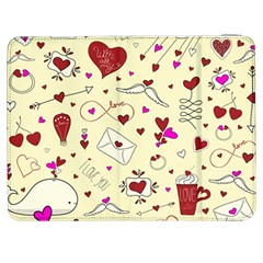 Valentinstag Love Hearts Pattern Red Yellow Samsung Galaxy Tab 7  P1000 Flip Case by EDDArt