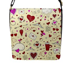 Valentinstag Love Hearts Pattern Red Yellow Flap Messenger Bag (l)  by EDDArt