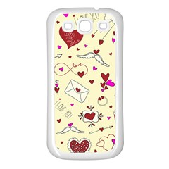 Valentinstag Love Hearts Pattern Red Yellow Samsung Galaxy S3 Back Case (white) by EDDArt