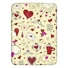 Valentinstag Love Hearts Pattern Red Yellow Samsung Galaxy Tab 3 (10 1 ) P5200 Hardshell Case  by EDDArt