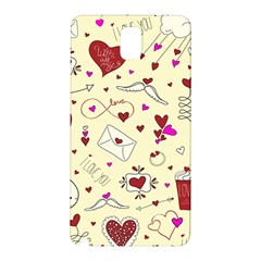 Valentinstag Love Hearts Pattern Red Yellow Samsung Galaxy Note 3 N9005 Hardshell Back Case by EDDArt