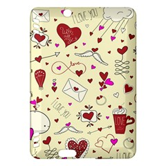 Valentinstag Love Hearts Pattern Red Yellow Kindle Fire Hdx Hardshell Case by EDDArt