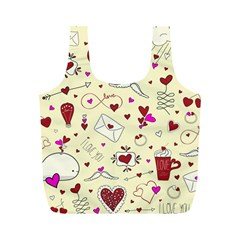 Valentinstag Love Hearts Pattern Red Yellow Full Print Recycle Bags (m)  by EDDArt