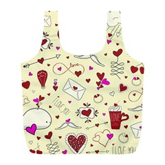 Valentinstag Love Hearts Pattern Red Yellow Full Print Recycle Bags (l)  by EDDArt