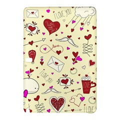 Valentinstag Love Hearts Pattern Red Yellow Samsung Galaxy Tab Pro 10 1 Hardshell Case by EDDArt