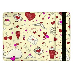 Valentinstag Love Hearts Pattern Red Yellow Samsung Galaxy Tab Pro 12 2  Flip Case by EDDArt