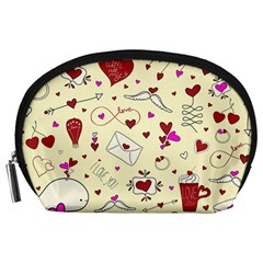 Valentinstag Love Hearts Pattern Red Yellow Accessory Pouches (large)  by EDDArt