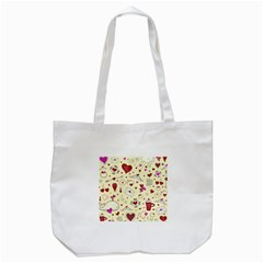 Valentinstag Love Hearts Pattern Red Yellow Tote Bag (white) by EDDArt