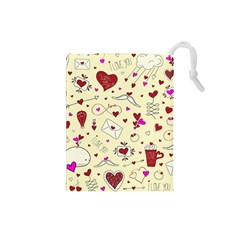 Valentinstag Love Hearts Pattern Red Yellow Drawstring Pouches (small)  by EDDArt