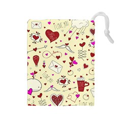 Valentinstag Love Hearts Pattern Red Yellow Drawstring Pouches (large)  by EDDArt