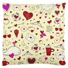 Valentinstag Love Hearts Pattern Red Yellow Standard Flano Cushion Case (one Side) by EDDArt