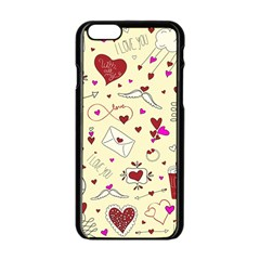Valentinstag Love Hearts Pattern Red Yellow Apple Iphone 6/6s Black Enamel Case by EDDArt