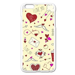 Valentinstag Love Hearts Pattern Red Yellow Apple Iphone 6 Plus/6s Plus Enamel White Case by EDDArt