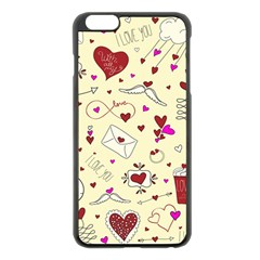 Valentinstag Love Hearts Pattern Red Yellow Apple Iphone 6 Plus/6s Plus Black Enamel Case by EDDArt