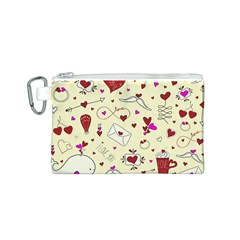Valentinstag Love Hearts Pattern Red Yellow Canvas Cosmetic Bag (s) by EDDArt