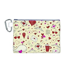 Valentinstag Love Hearts Pattern Red Yellow Canvas Cosmetic Bag (m) by EDDArt